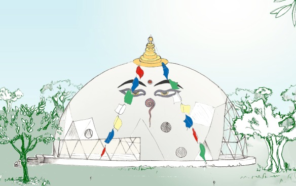 Visualisation of the new yoga dome at Suryalila